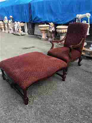 Arm Chair and Upholstered Ottoman