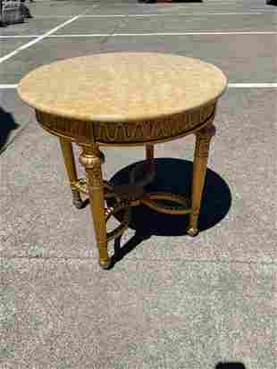 Vintage Round Gilded Wood Marble Top Table