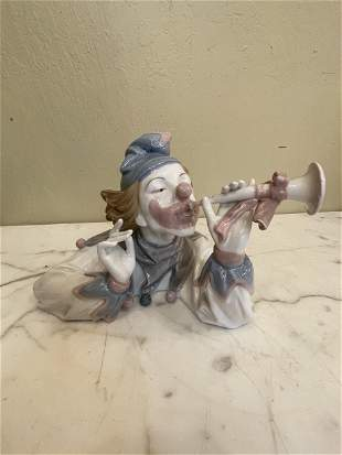 Porcelain Clown Statue - Playing Flute