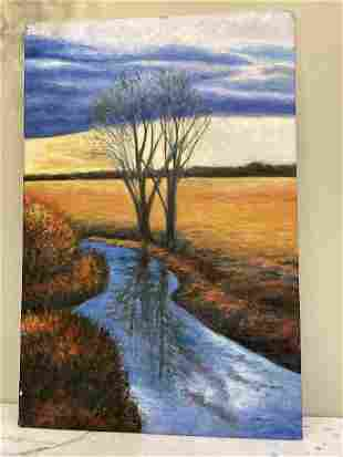 Abstract Oil On Canvas - Creek Scene, Signed