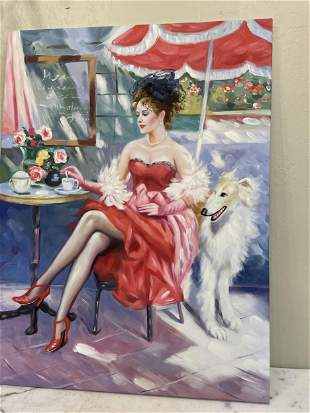 Oil on Canvas - Woman Sitting at Table with Dog