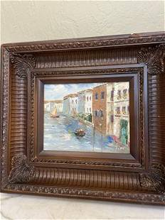 Oil on Canvas - Scene of Venice, Italy, Signed
