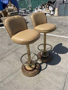 Pair of Leather and Wood Bar Stools