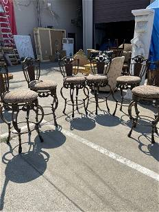 Set of 6 Bronze and Metal Upholstered Stools