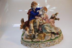 German Porcelain Sculpture Of Couple By Dresden