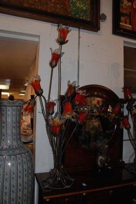 Beautiful Hand Blown Glass Red Bell Flower Eleven Light