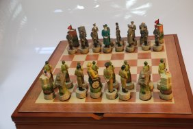 Wwii Chess Set W/roosevelt And Hitler In Burlwood Box