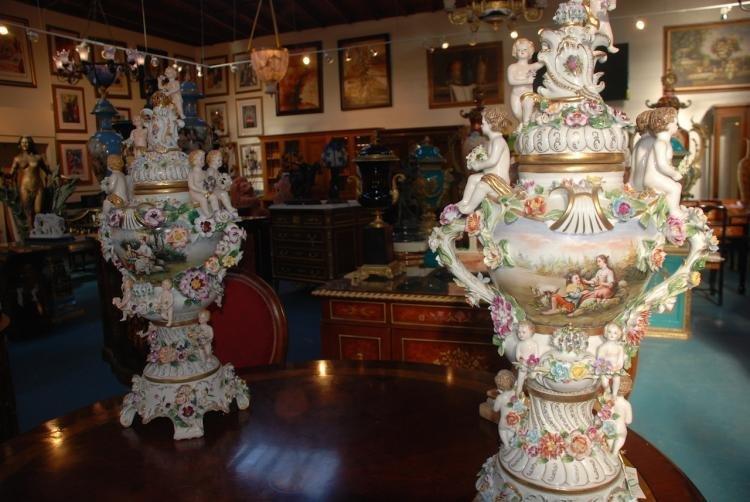 Unique Pair of German Porcelain Urns