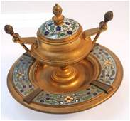 Antique French Gilt Bronze Champlev Enamel Inkwell
