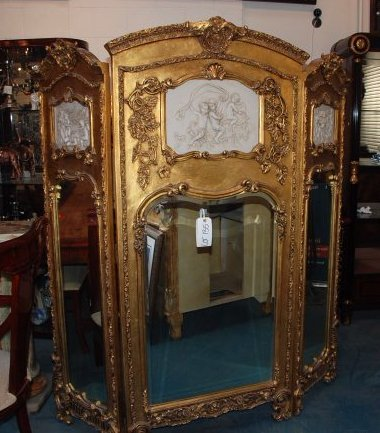Beautiful 3-Panel Gilded Wood and Mirrored Screen