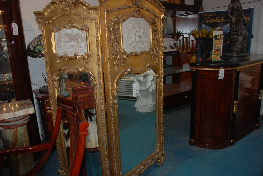 Beautiful 3-Panel Gilded Wood and Mirrored Screen - 2