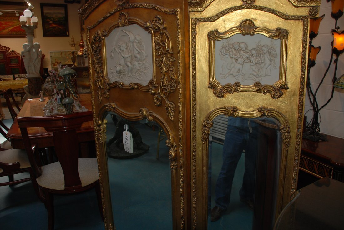 Beautiful 3-Panel Gilded Wood and Mirrored Screen - 3