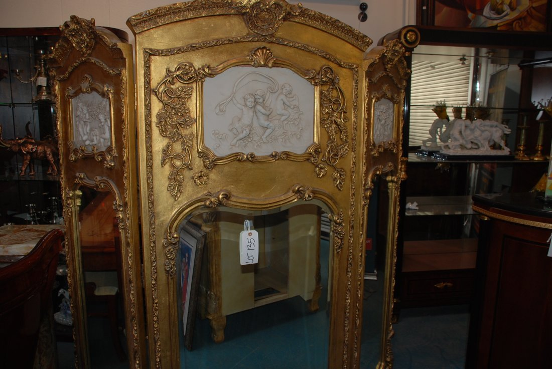Beautiful 3-Panel Gilded Wood and Mirrored Screen - 4