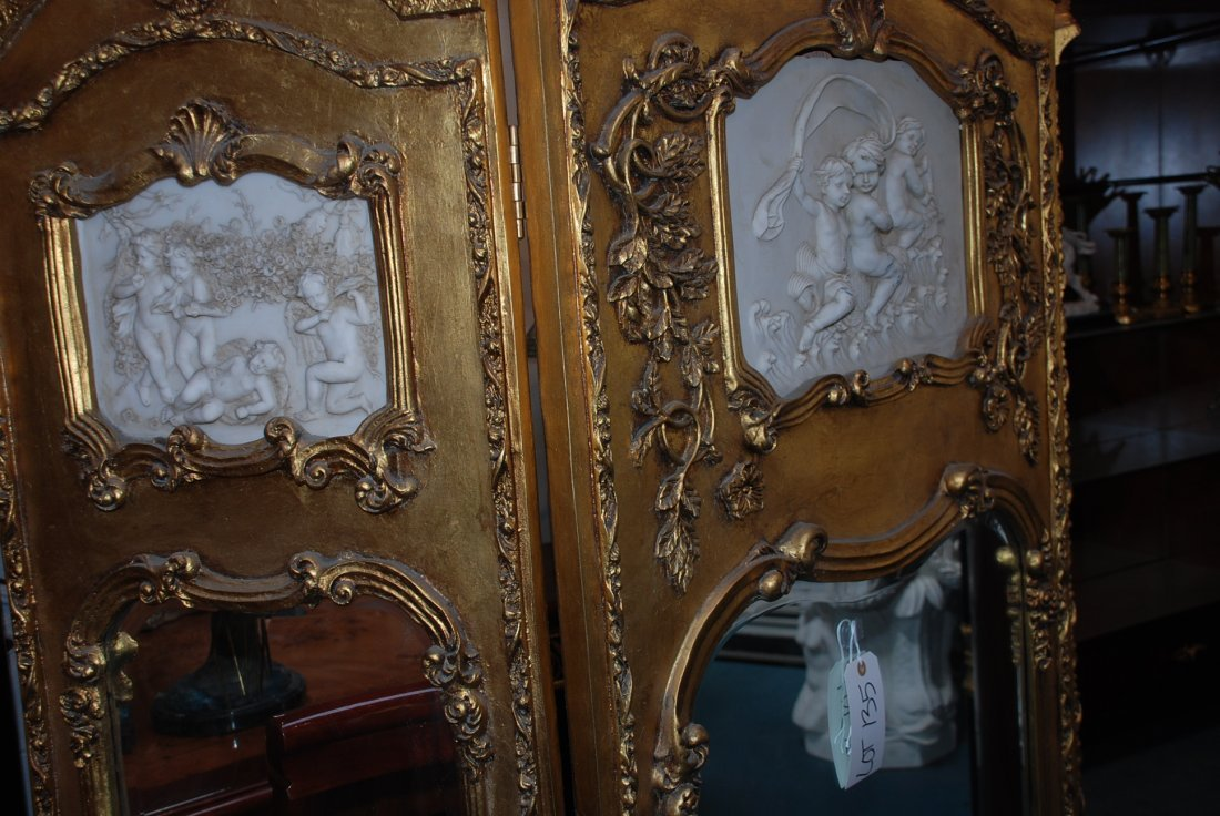 Beautiful 3-Panel Gilded Wood and Mirrored Screen - 6