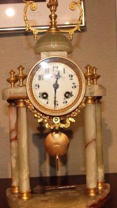 French Onyx and Bronze Pendulum Clock