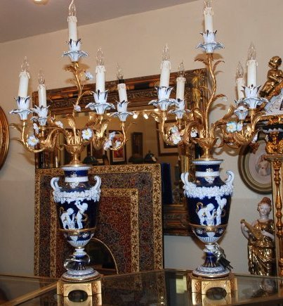 Pair of Porcelain and Gilded Bronze Table Lamps