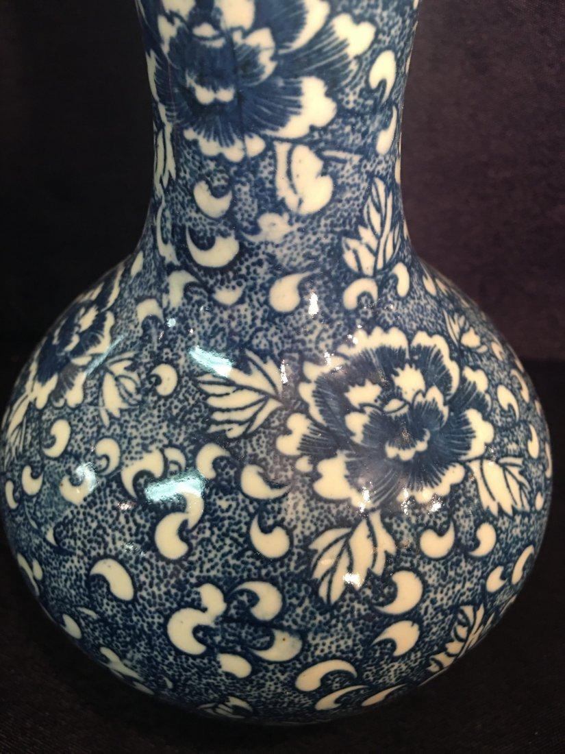 Miniature Light Blue Chinese Floral Vase - 2