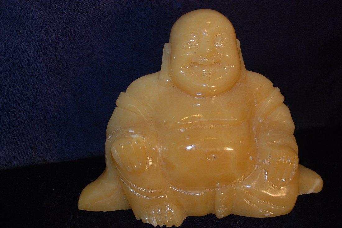 Yellow Jade Statue of Buddha Sitting - 5