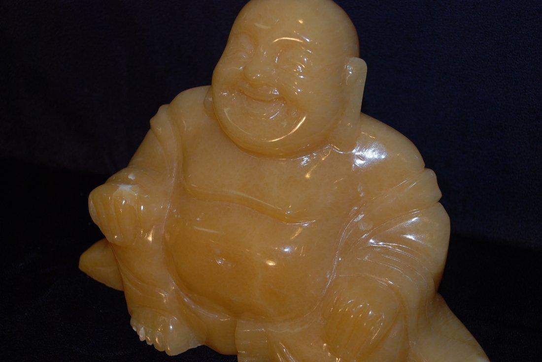 Yellow Jade Statue of Buddha Sitting - 6