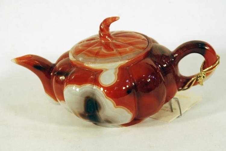 Beautiful Carved Agate Tea Pot