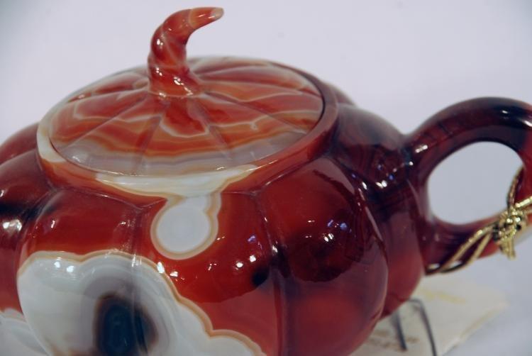 Beautiful Carved Agate Tea Pot - 2