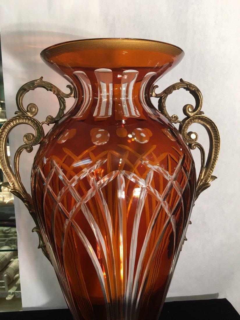 Dark Amber Handcut Crystal Footed Bowl w/ Bronze - 2