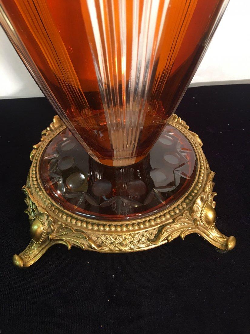 Dark Amber Handcut Crystal Footed Bowl w/ Bronze - 3