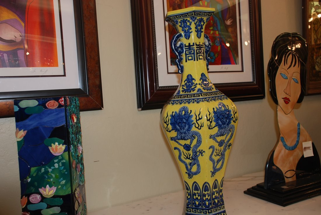 Magnificent Yellow and Blue Chinese Face w/ Dragons - 5