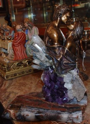 Bronze Statue w/ Amethyst, Crystal, & Hematite by Vidal