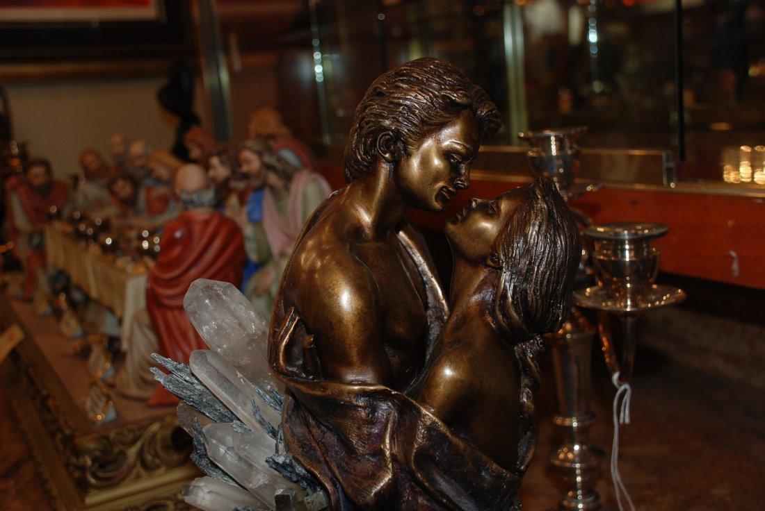Bronze Statue w/ Amethyst, Crystal, & Hematite by Vidal - 2
