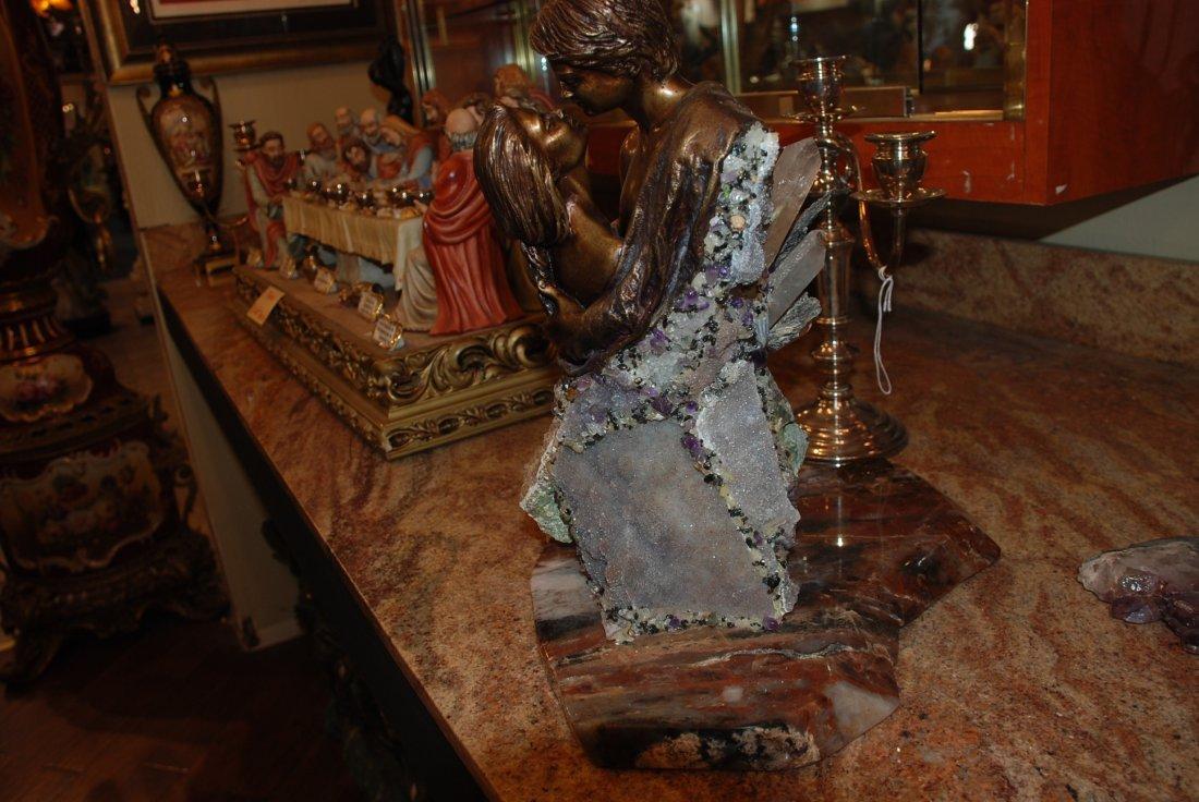 Bronze Statue w/ Amethyst, Crystal, & Hematite by Vidal - 9