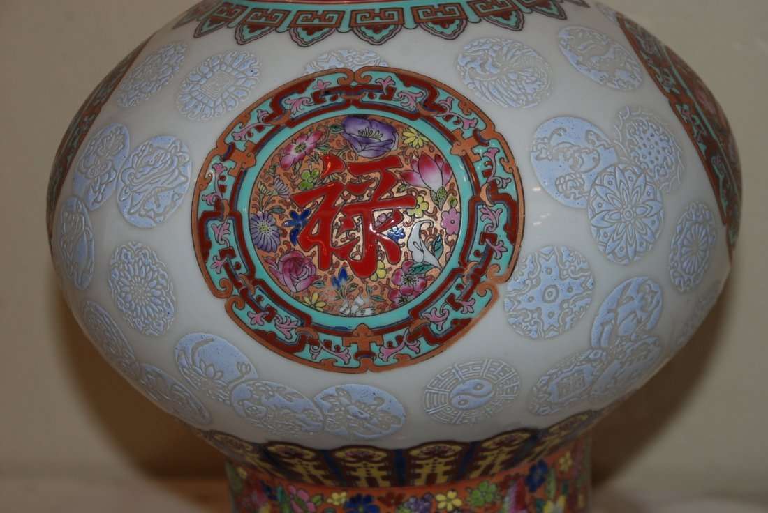 Chinese Porcelain Baked Enamel Vase w/ Wood Base - 5