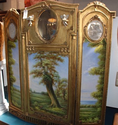 3-Panel Hand-Painted Gilded Screen with Oval Mirror