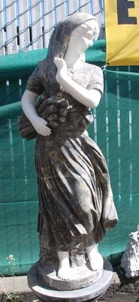 Beautiful Marble Statue of Woman Holding Wood
