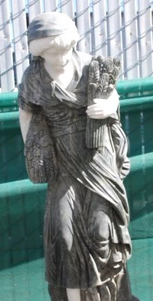 Beautiful Marble Statue of Woman Carrying Wheat