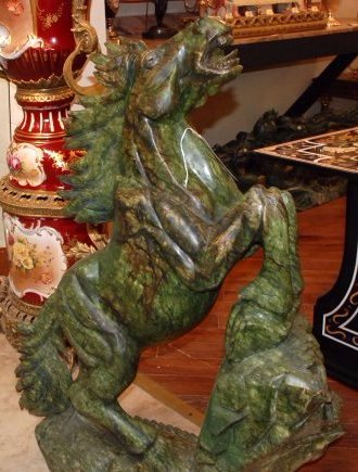 Beautifully Carved Large Green Jade Horse