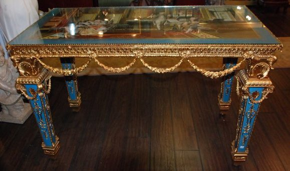 Beautiful Porcelain and 24k Gold Gilded Bronze Table