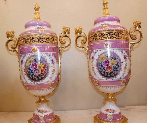 Pair of Porcelain Gilded Vases