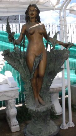 Dual Patinated Bronze Fountain of Woman with Flowers