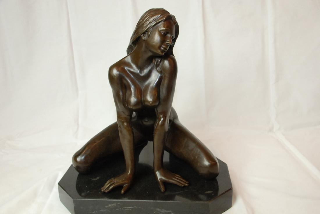 Bronze Nude Woman Kneeling w/Onyx Base by Nino Oliviono