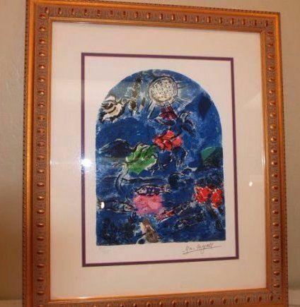 """""""Stain Glass Windows"""" by Marc Chagall Print, Signed"""