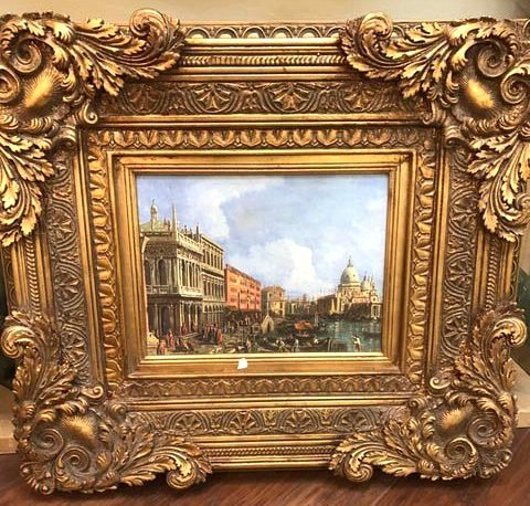 Scene of Venetian Port Oil on Canvas Vintage Painting