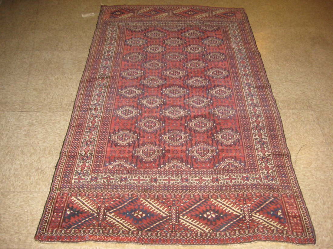 """051212: Antique Russian Yamud - 4'2"""" x 7'7"""""""