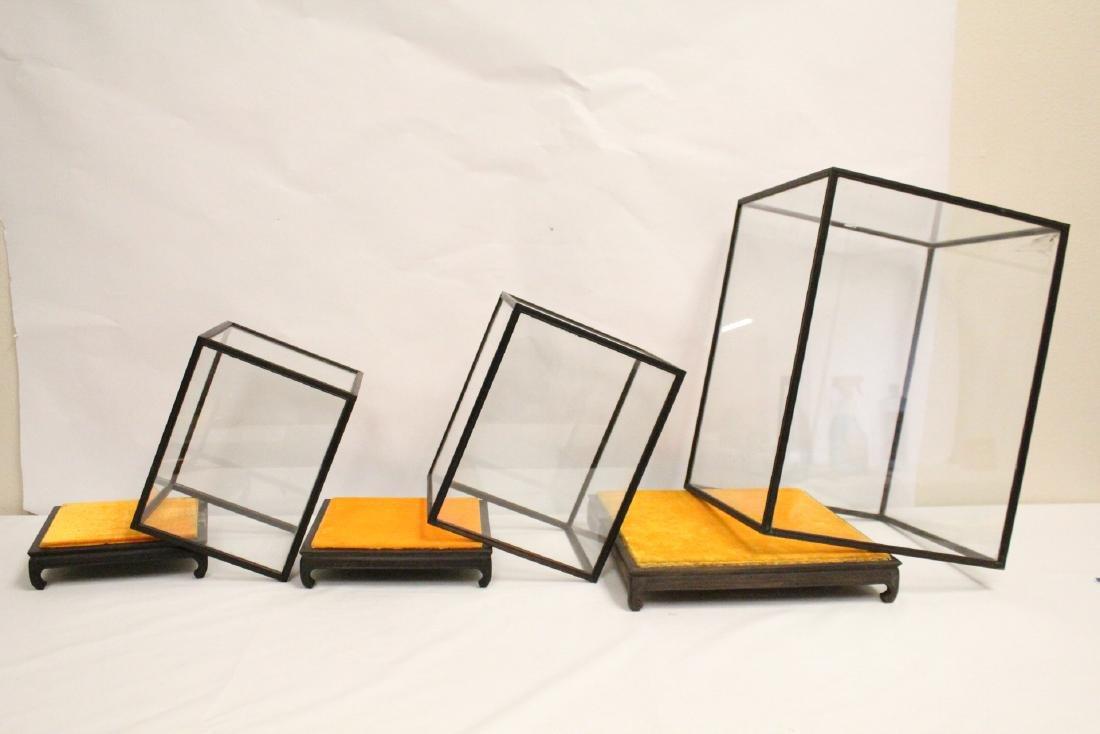 3 zitan wood framed display cubes - 10