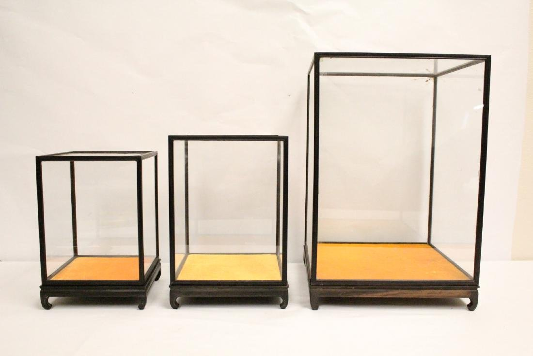 3 zitan wood framed display cubes