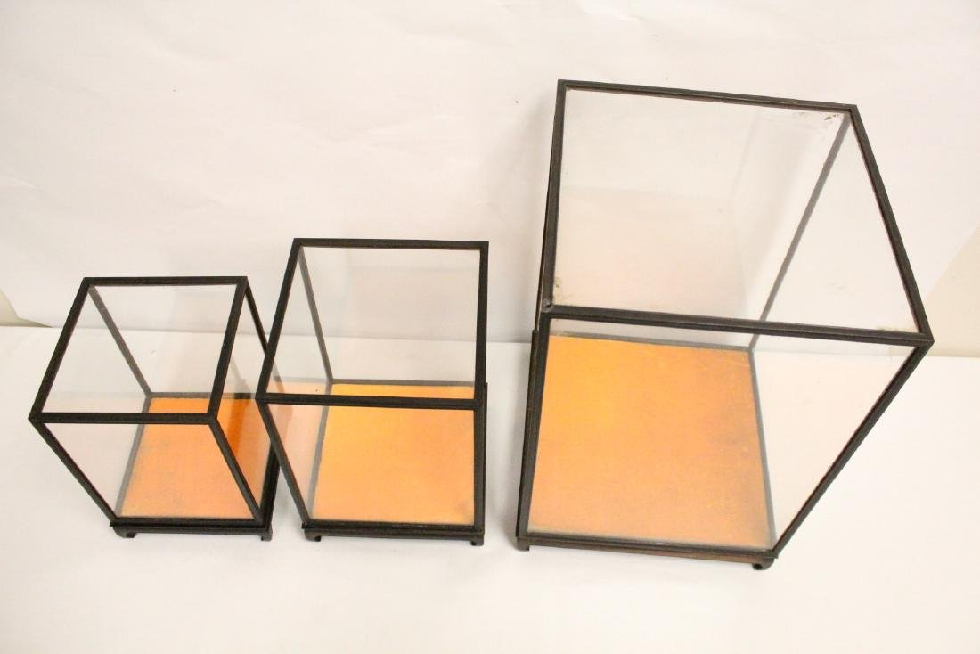 3 zitan wood framed display cubes - 2