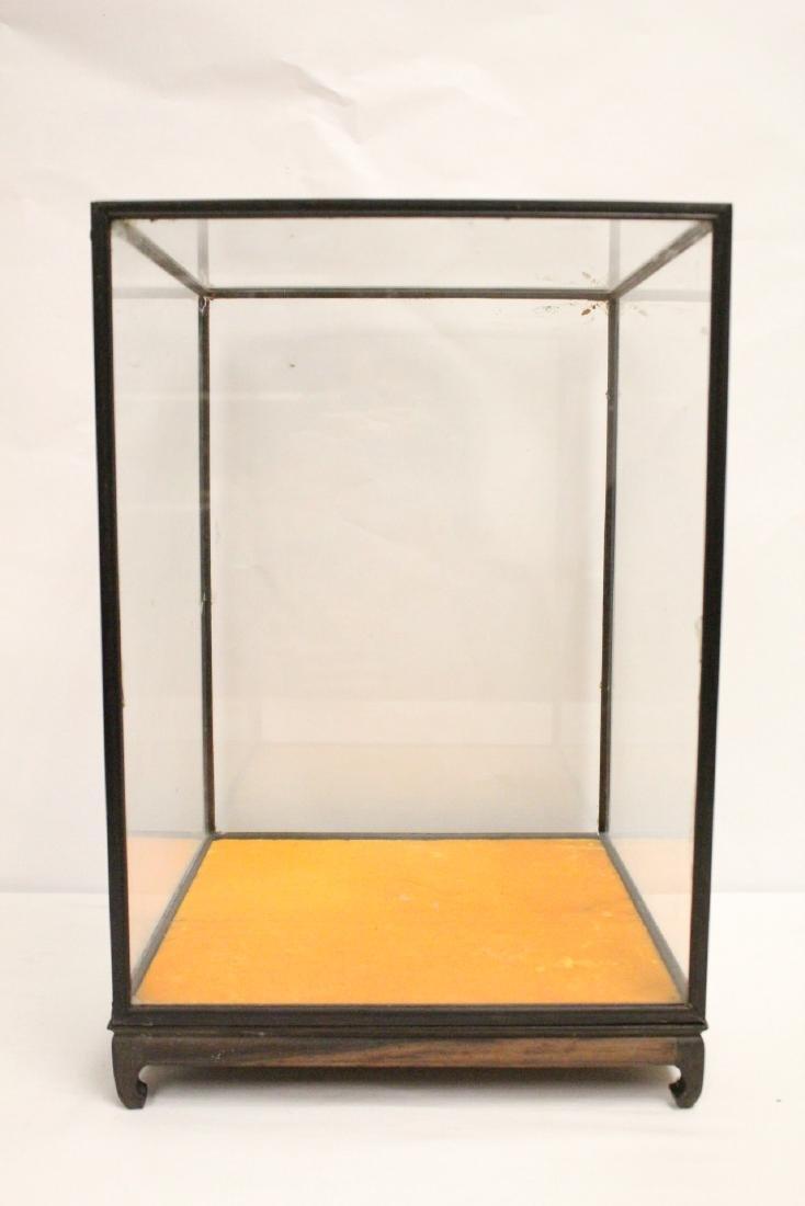 3 zitan wood framed display cubes - 3