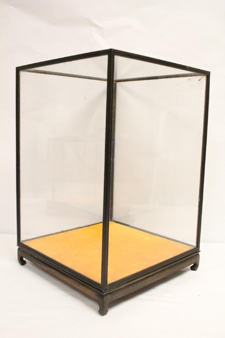 3 zitan wood framed display cubes - 4