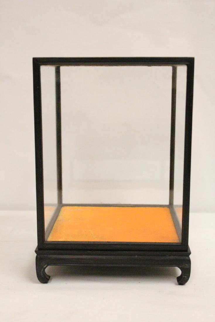 3 zitan wood framed display cubes - 7