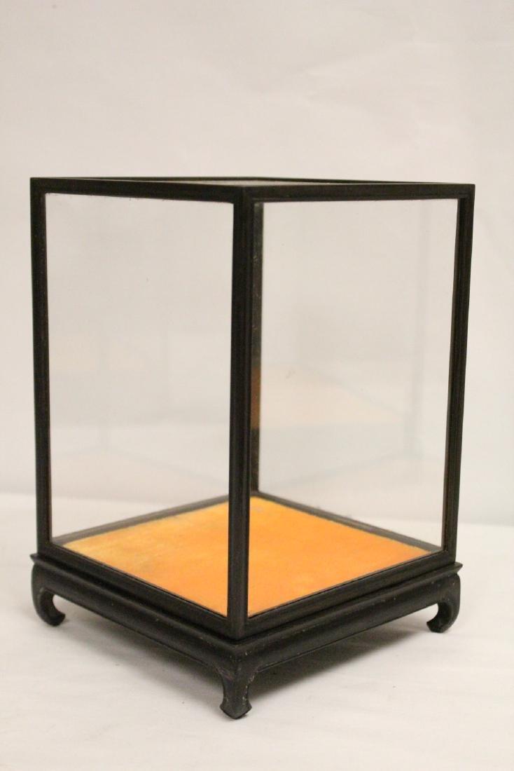 3 zitan wood framed display cubes - 8